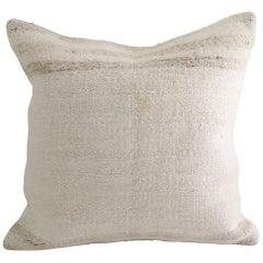 Vintage Turkish Hemp Rug Pillow with Stripes