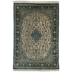 Vintage Turkish Hereke Silk Area Rug with Victorian Art Nouveau Style