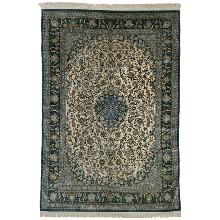 Antique Turkish Silk Rug: Vintage Turkish Hereke Silk Area Rug With Victorian Art