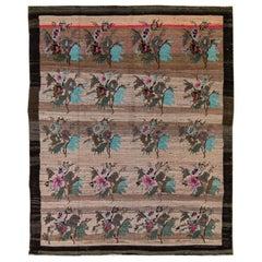 Vintage Turkish Kars Handmade Floral Pattern Peach Wool Rug