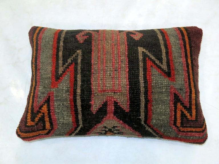 Persian Vintage Turkish Kars Lumbar Rug Pillow For Sale