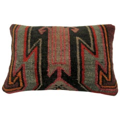 Vintage Turkish Kars Lumbar Rug Pillow