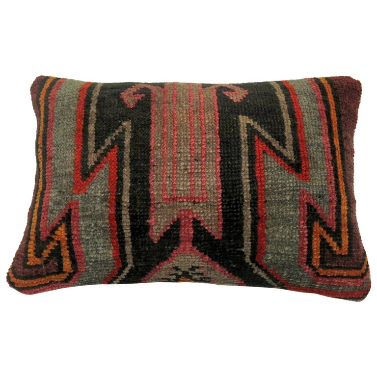 Vintage Turkish Kars Lumbar Rug Pillow For Sale
