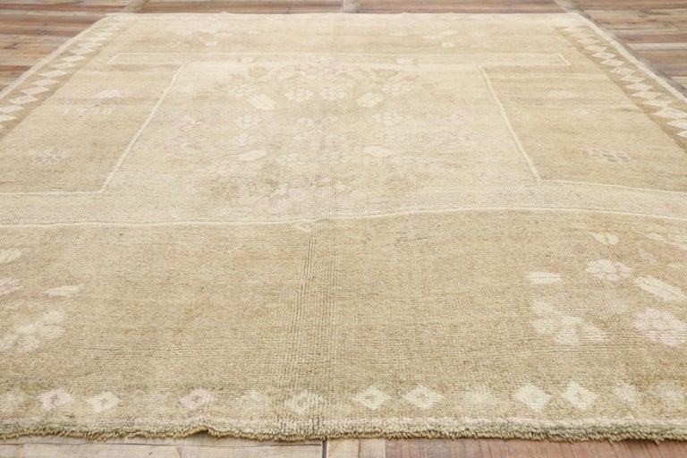 Wool Vintage Turkish Kars Rug with Modern Farmhouse and Romantic Prairie Style For Sale
