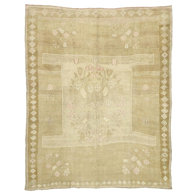 Vintage Turkish Kars Rug with Modern Farmhouse and Romantic Prairie Style For Sale