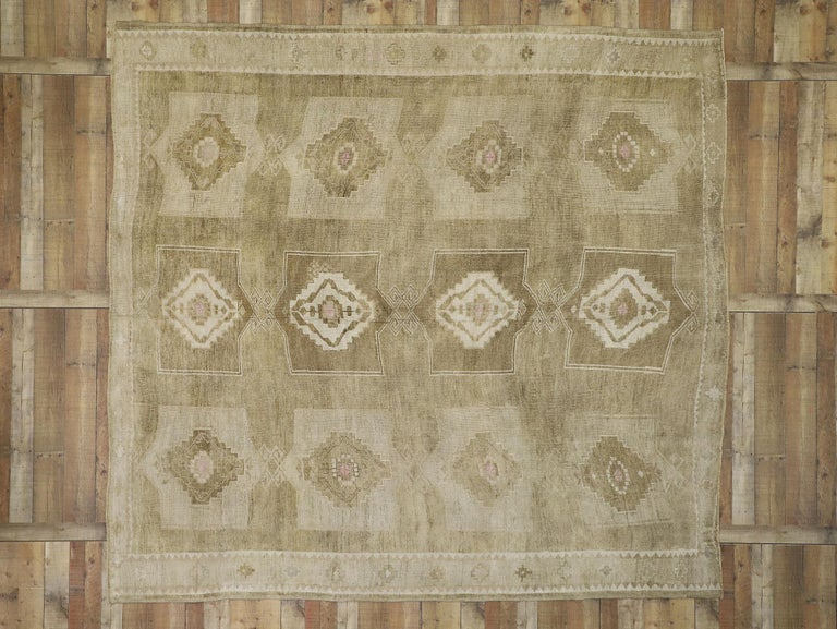 Vintage Turkish Kars Rug With Modern