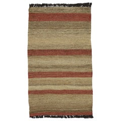 Vintage Turkish Kilim Accent Rug with Earth Tone Colors, Small Flat-Weave Rug