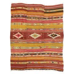 Vintage Turkish Kilim Flat-Weave Rug with Boho Chic Southwestern Style