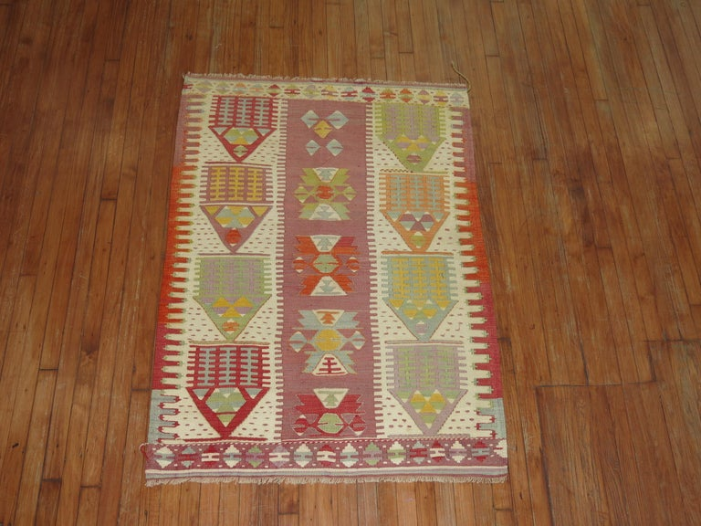 Colorful mid-20th century Turkish flat-weave Kilim.