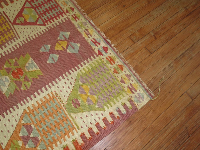 Primitive Vintage Turkish Kilim  For Sale
