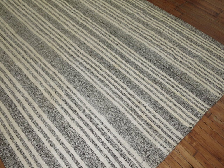 Vintage Turkish Kilim in gray and white.