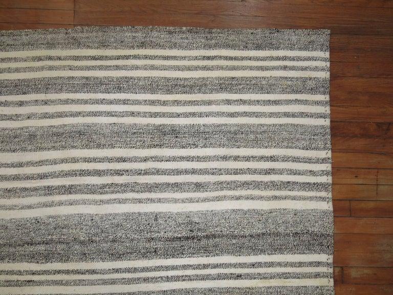 Wool Vintage Turkish Kilim Room Size Flat-Weave Rug For Sale