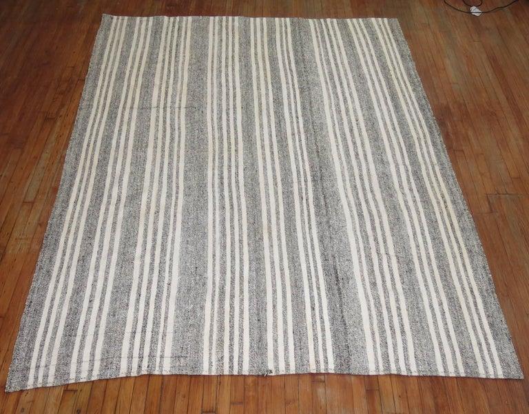 Vintage Turkish Kilim Room Size Flat-Weave Rug For Sale 2