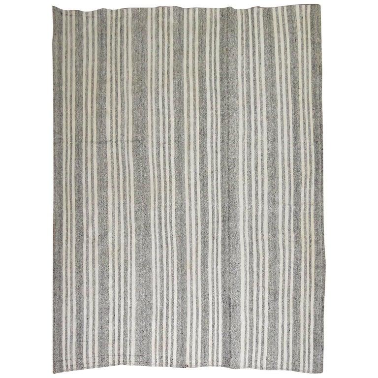 Vintage Turkish Kilim Room Size Flat-Weave Rug For Sale