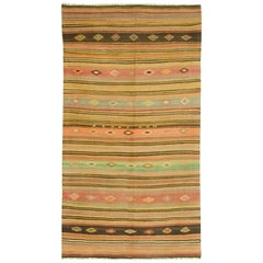 Vintage Turkish Kilim Rug Carpet, circa 1950