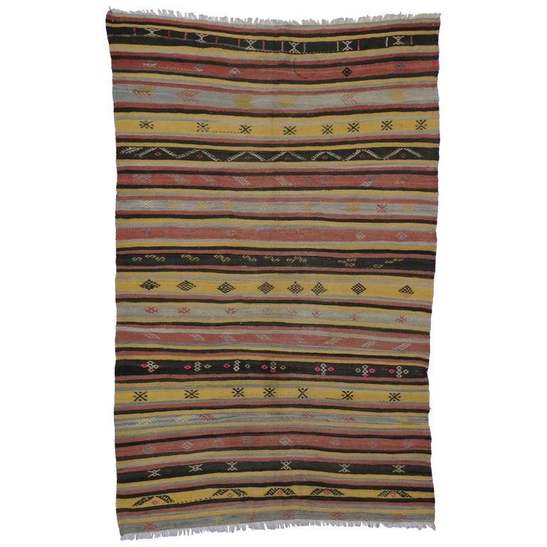 Vintage Turkish Flat Weave Rug: Vintage Turkish Kilim Rug, Flat-Weave Kilim Tribal Rug For