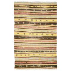 Vintage Turkish Kilim Rug, Flat-Weave Kilim Tribal Rug