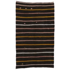 Vintage Turkish Kilim Rug, Flat-Weave Striped Kilim Area Rug with Tribal Style