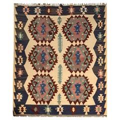 Vintage Turkish Kilim Rug Handmade Carpet Large Wool Kilims