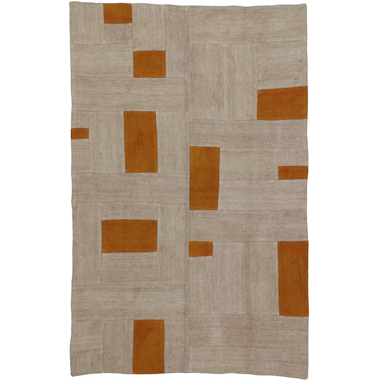 Vintage Turkish Flat Weave Rug: Vintage Turkish Kilim Rug, Patchwork Kilim Flat-Weave Rug