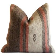 Vintage Turkish Kilim Rug Pillow in Natural