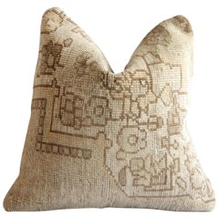Vintage Turkish Kilim Rug Pillow with Flower Patterns in Natural