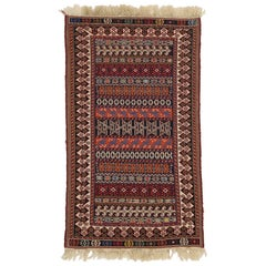 Vintage Turkish Kilim Rug, Small Flat-Weave Rug
