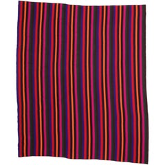 Vintage Turkish Kilim Rug with Colorful Stripes with Modern Contemporary Style