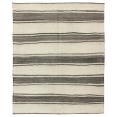 Vintage Turkish Kilim Rug with Horizontal Gray Stripes and a Modern Design
