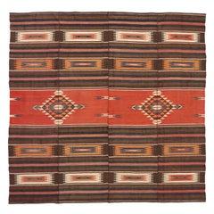 Vintage Turkish Kilim Rug with Mid-Century Modern Rustic Aztec Style