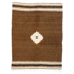 Vintage Turkish Kilim Rug with Mid-Century Modern Style, Brown Flat-Weave Rug