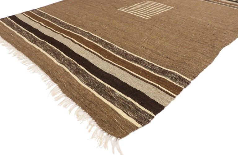 52850, vintage Turkish Kilim rug with Mid-Century Modern style, square flat-weave rug 04'05 x 05'05. With its minimalist design and rugged beauty, this vintage Turkish Kilim rug is a captivating vision of woven beauty. It features eleven beige lines