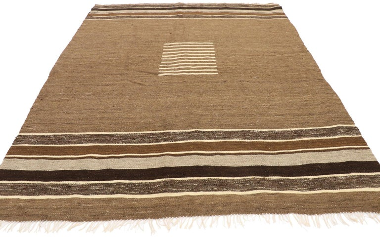 Hand-Woven Vintage Turkish Kilim Rug with Mid-Century Modern Style, Square Flat-Weave Rug For Sale