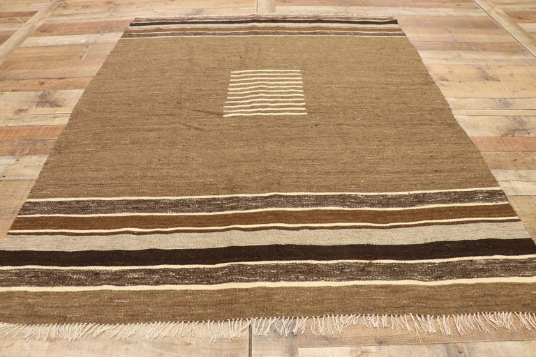 Wool Vintage Turkish Kilim Rug with Mid-Century Modern Style, Square Flat-Weave Rug For Sale