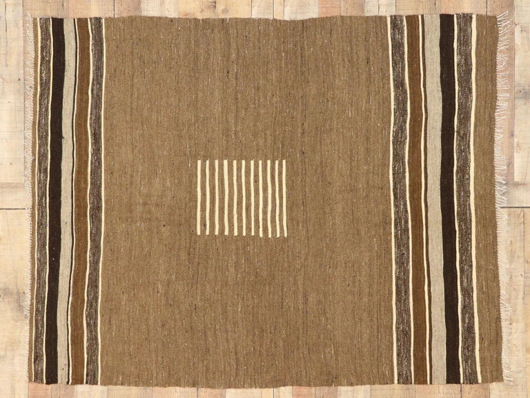 Vintage Turkish Kilim Rug with Mid-Century Modern Style, Square Flat-Weave Rug For Sale 1