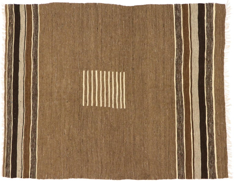 Vintage Turkish Kilim Rug with Mid-Century Modern Style, Square Flat-Weave Rug For Sale 2