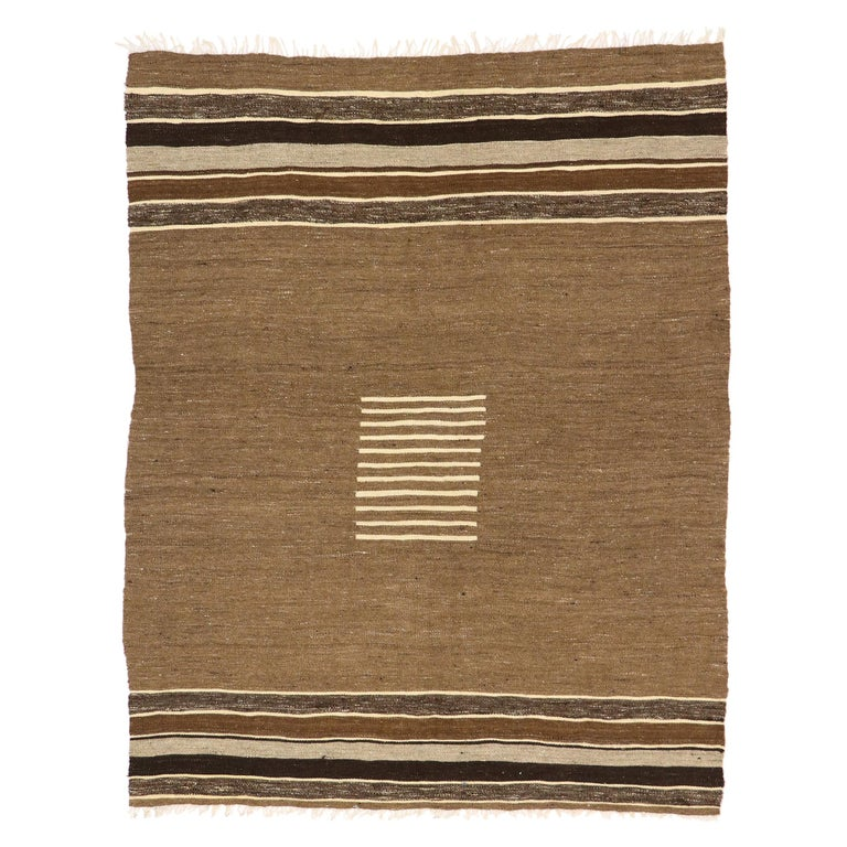 Vintage Turkish Kilim Rug with Mid-Century Modern Style, Square Flat-Weave Rug For Sale