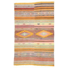 Vintage Turkish Kilim Rug with Southwest Boho Chic Desert Style, Flat-Weave Rug