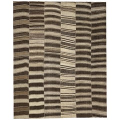 Vintage Turkish Kilim Rug with Stripes and Modern Style