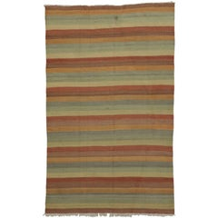 Vintage Turkish Kilim Rug with Stripes and Soft Colors, Flat-Weave Rug