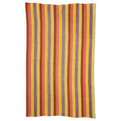 Vintage Turkish Kilim Rug with Stripes in Modern Style, Striped Kilim Rug
