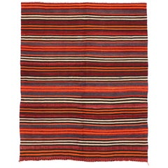 Vintage Turkish Kilim Rug with Stripes, Flat-Weave Kilim