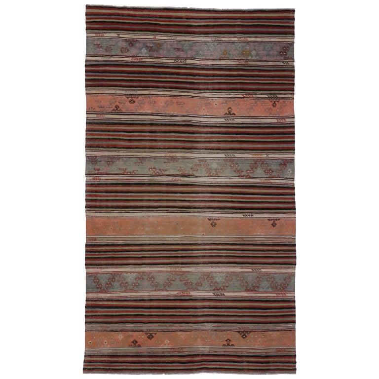 Vintage Turkish Flat Weave Rug: Vintage Turkish Kilim Rug With Tribal Style, Flat-Weave