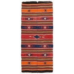 Vintage Turkish Kilim Rug with Tribal Style, Flat-Weave Rug