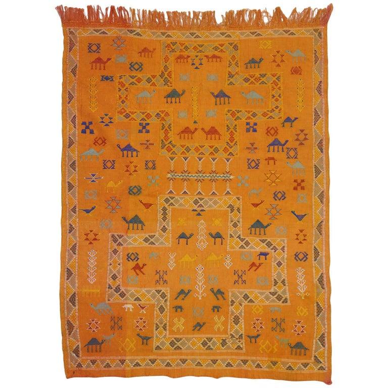 Vintage Turkish Flat Weave Rug: Vintage Turkish Kilim Rug With Tribal Style, Small Flat