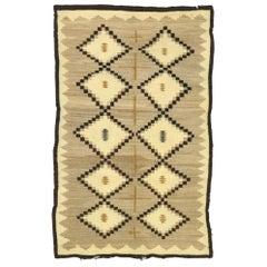 Vintage Turkish Kilim Rug with Two Grey Hills Navajo Style