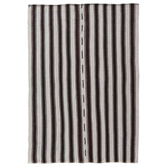 Vintage Turkish Kilim Rug with Vertical Stripes in Chocolate Brown and Cream