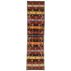 Vintage Turkish Kilim Runner with Boho Chic Tribal Style, Flatweave Kilim Rug