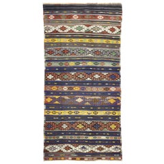 Vintage Turkish Kilim Striped Rug with Bohemian Tribal Style, Flat-Weave Rug