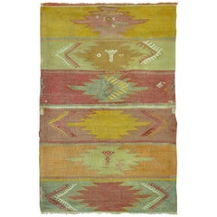 Vintage Turkish Kilim Throw Kilim Rug